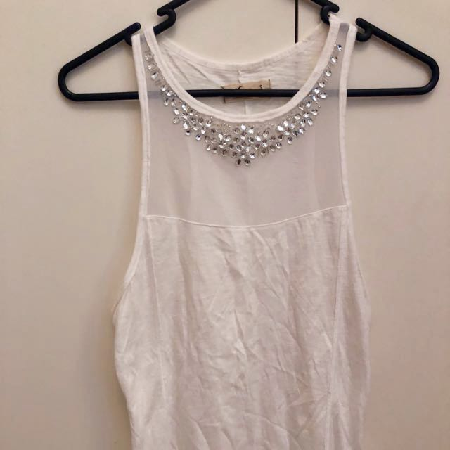 Hollister tank top with mesh and jewel detailing