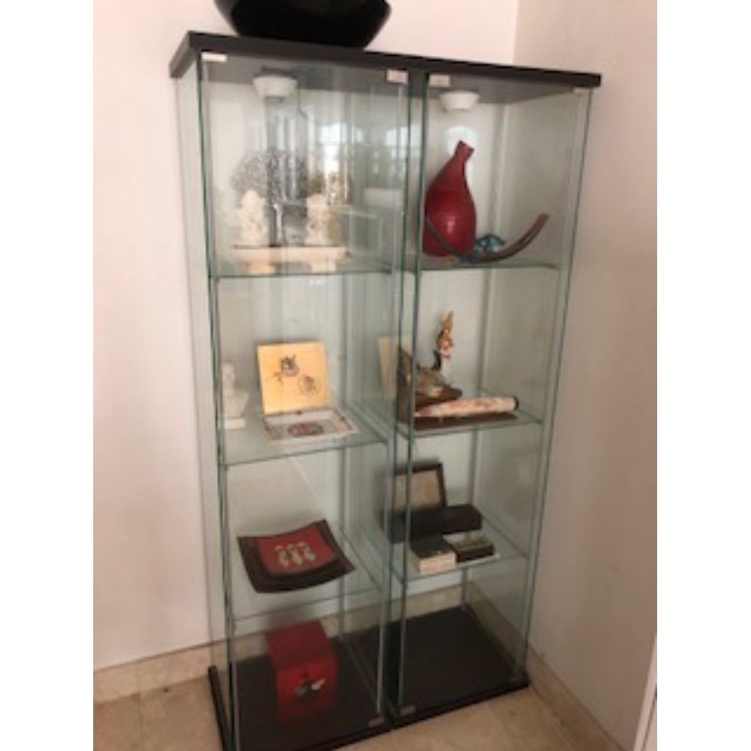 Ikea display cabinet glass door cabinet black brown furniture home decor on carousell