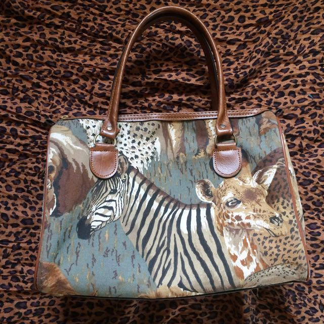 Imported Animal printed canvass handbag