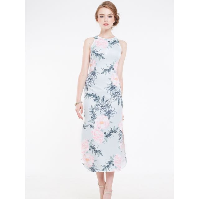 Intoxiquette Cadence Floral Slit Maxi In Jade
