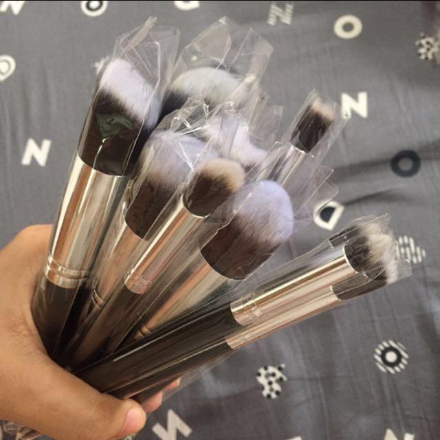 Kabuki brushes (black silver 10pcs set)