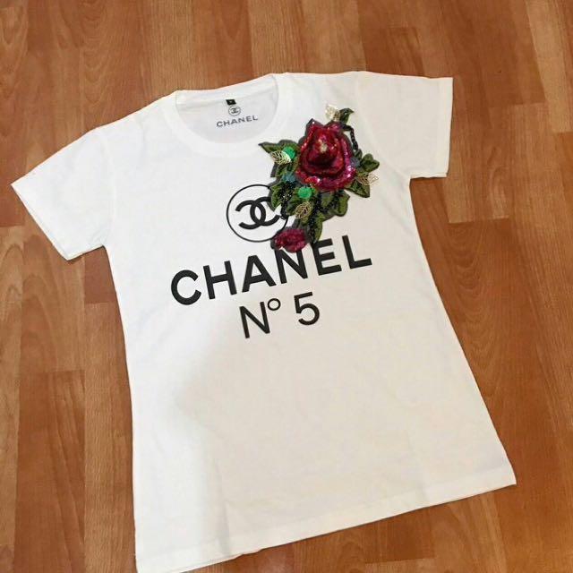 Kaos chanel flower import/branded tee/tshirt