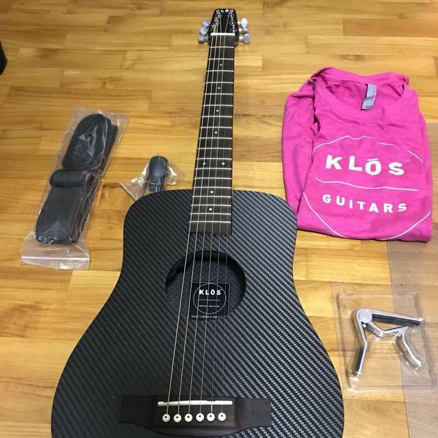 e8fc95462d7 KLOS Carbon Fibre Travel Guitar 3/4 size with pickup, Music & Media ...