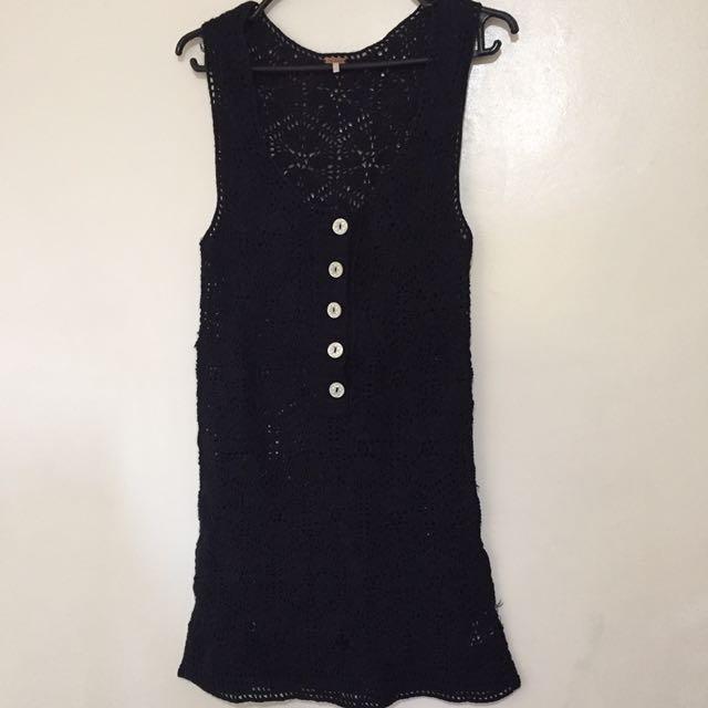 knitted dark blue dress