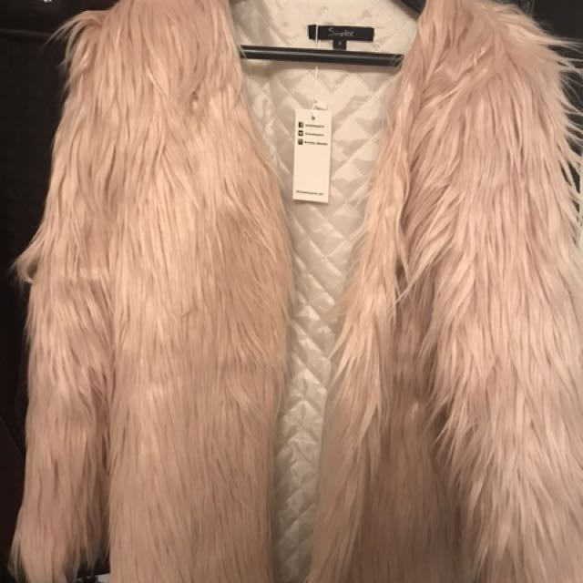 Light Pink Faux Fur Jacket