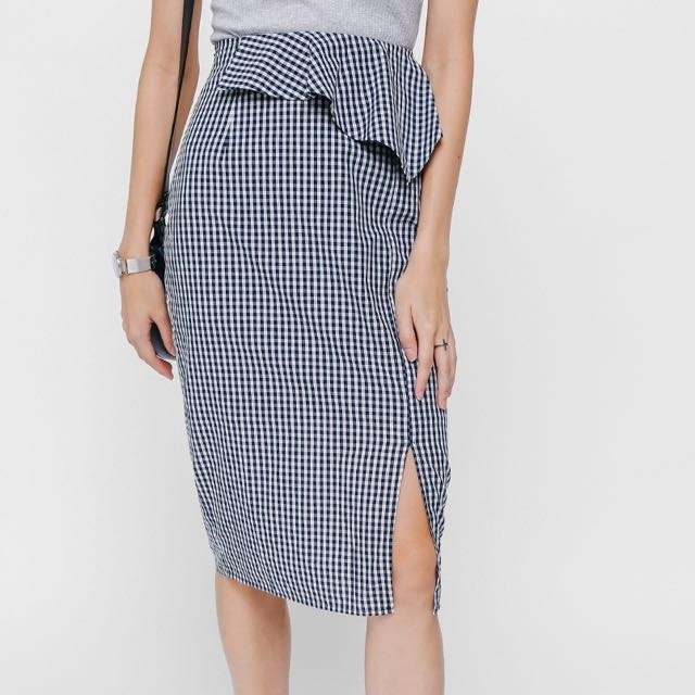 5261b7c29a Love bonito Sarye Peplum Gingham Pencil Skirt on Carousell
