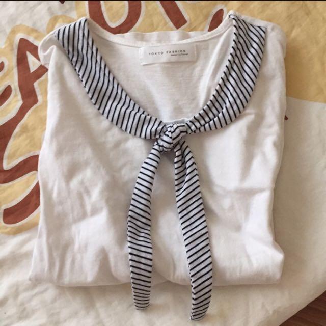 👉東京著衣🙆🏻短袖水手領巾上衣M