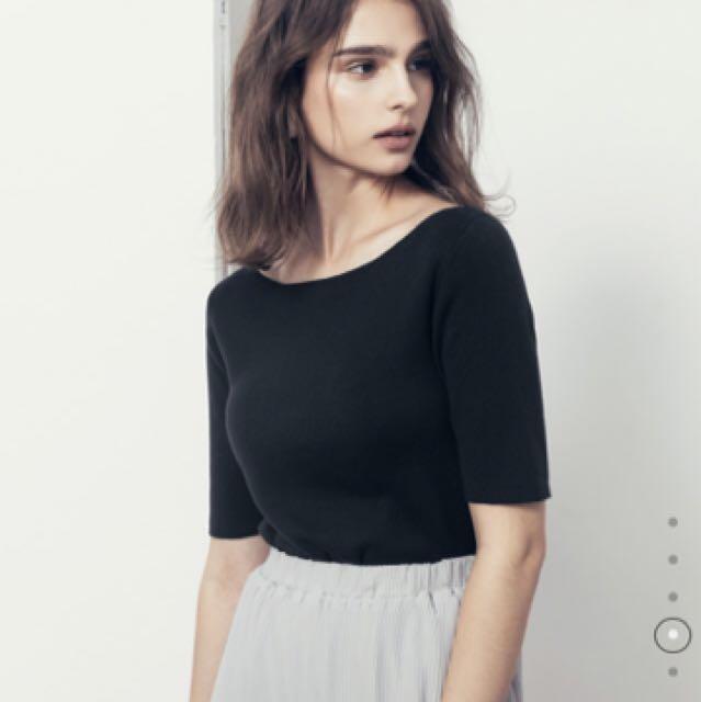 MeierQ/知性親膚五分袖針織上衣