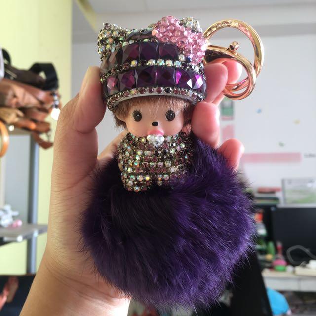 Monchichi Doll Fur Bag Charm / keychain violet