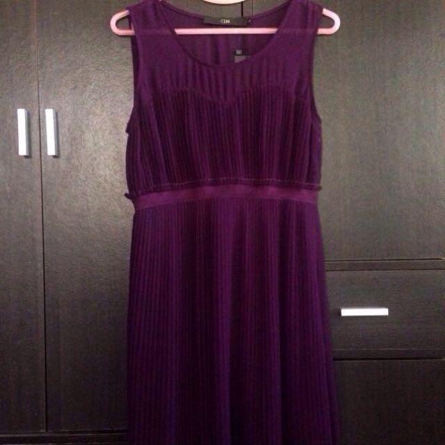 NEW Deep Purple Pleated Dress
