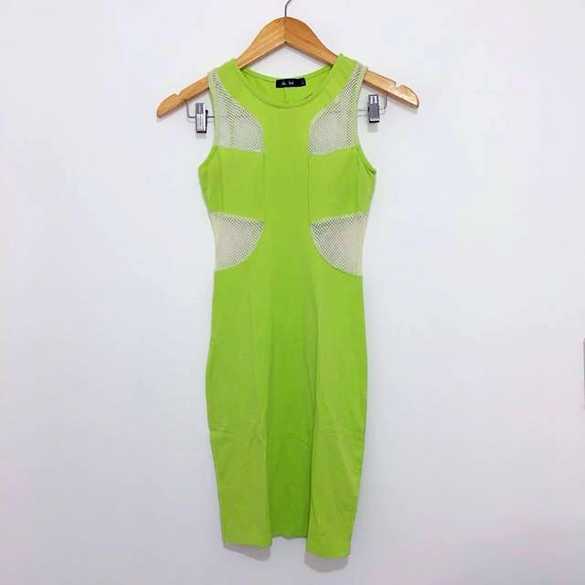 New Lime Green Body Con Dress