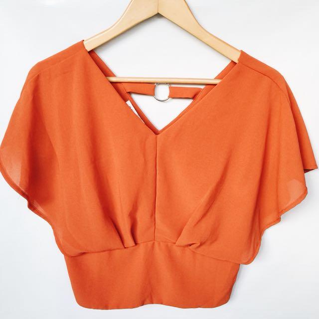 Orange Chiffon Top (Fits S-M)