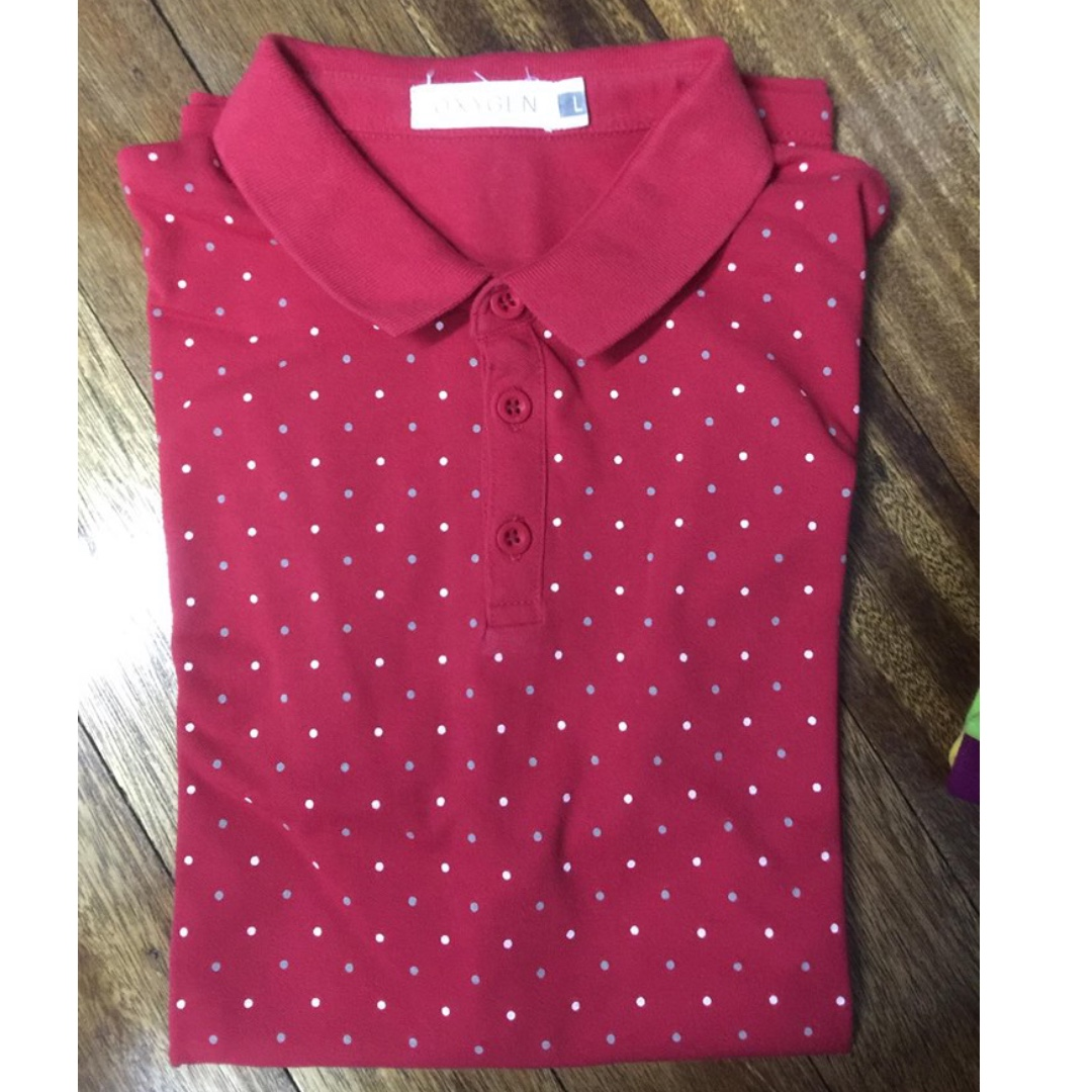[3 for P1000] OXYGEN Red-printed polo shirt