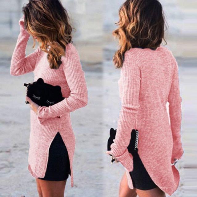 Pink Mock Neck Top With Side Slit