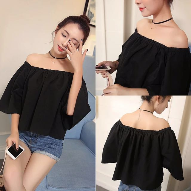 b630e937d71c81 Plain Off Shoulder Top❣