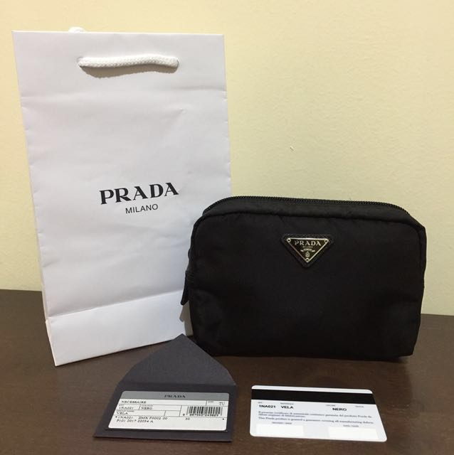 30072dbfd Prada Nylon Small Cosmetic Pouch in Black, Luxury, Bags & Wallets on ...