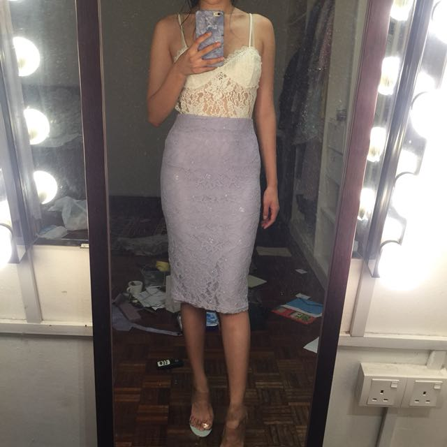 Preloved Dorothy Perkins Lace Bodycon Skirt