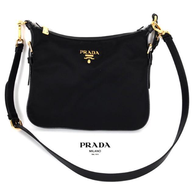 5c46b37da28a cheapest promoprada tessuto nylon sling bag black luxury bags wallets on  carousell 2a288 b7d25