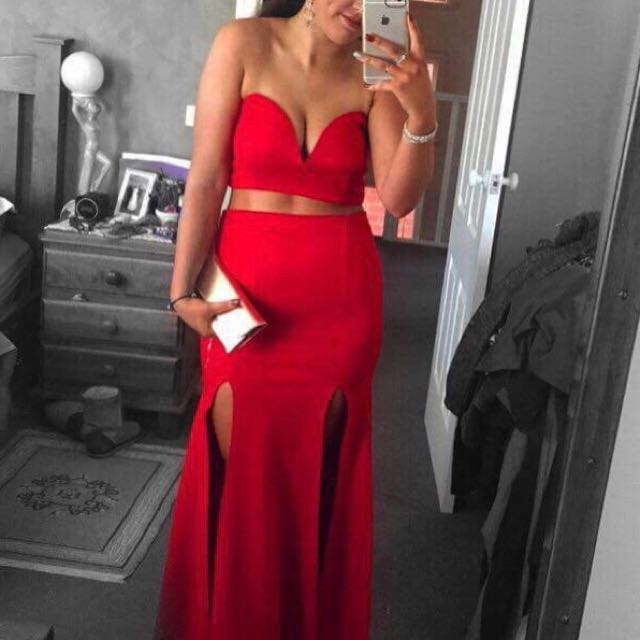 Red Two Piece Split Dress