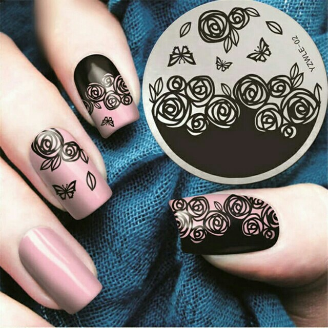 Rose flower butterfly nail stamping plates spring nail art stamp photo photo prinsesfo Choice Image