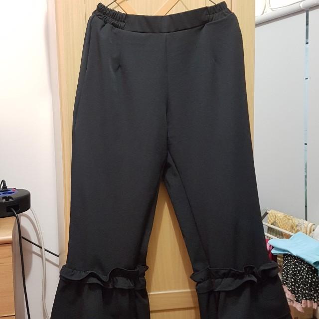 Ruffle Black Pants