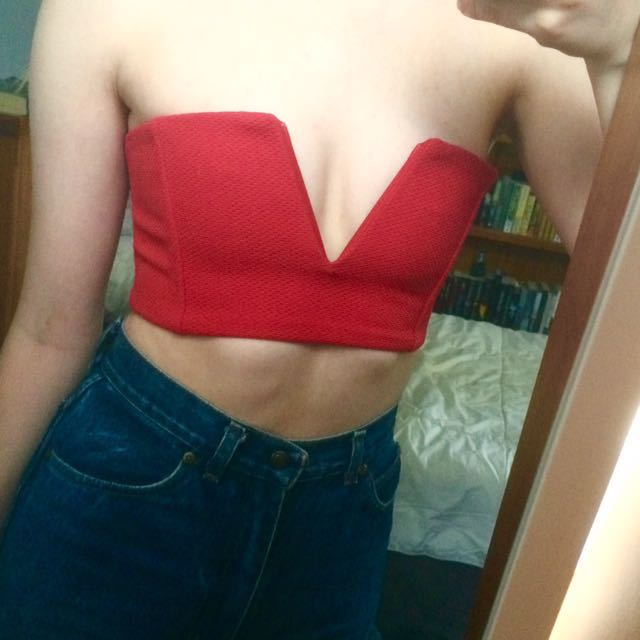 Sabo Skirt Red Bandeau Crop Top size XS