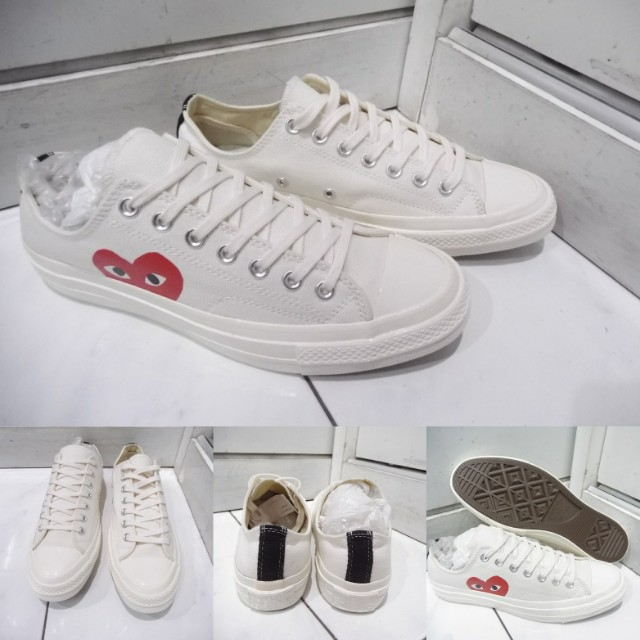 Sepatu Converse Allstar Chucktaylor CDG Play Love Low Canvas White Putih 390345916e