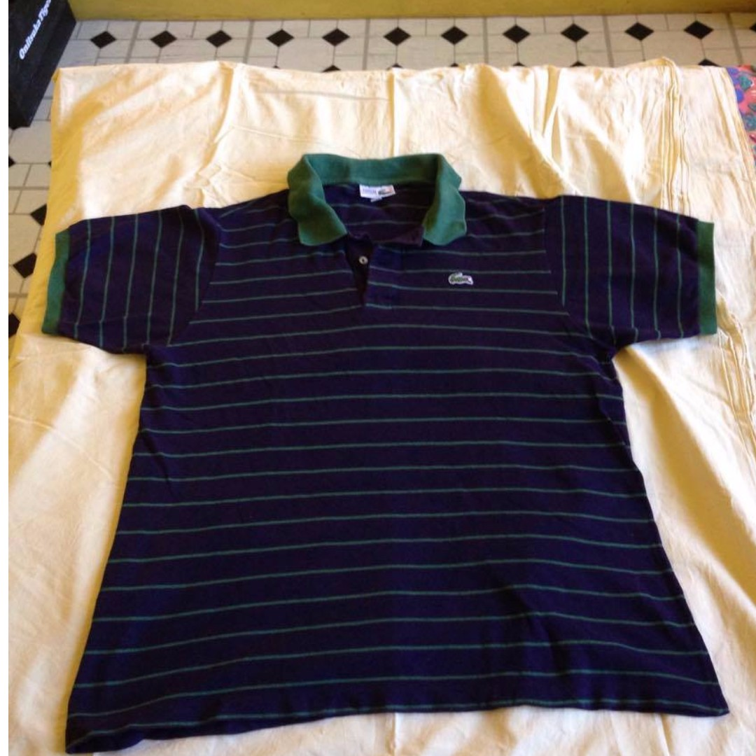 Set of Navy Blue Lacoste Vintage Polo (size 6) and Tee (size 5) Shirts