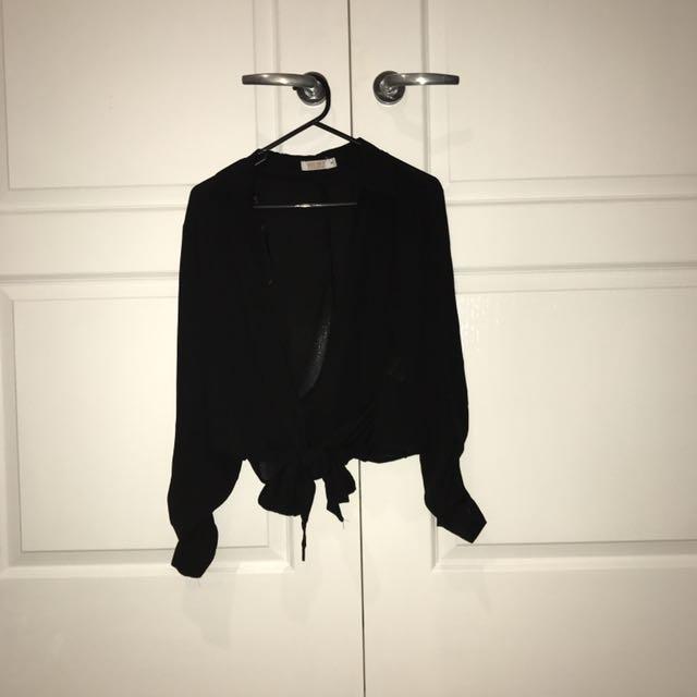 Sheer Black Tie Up Top