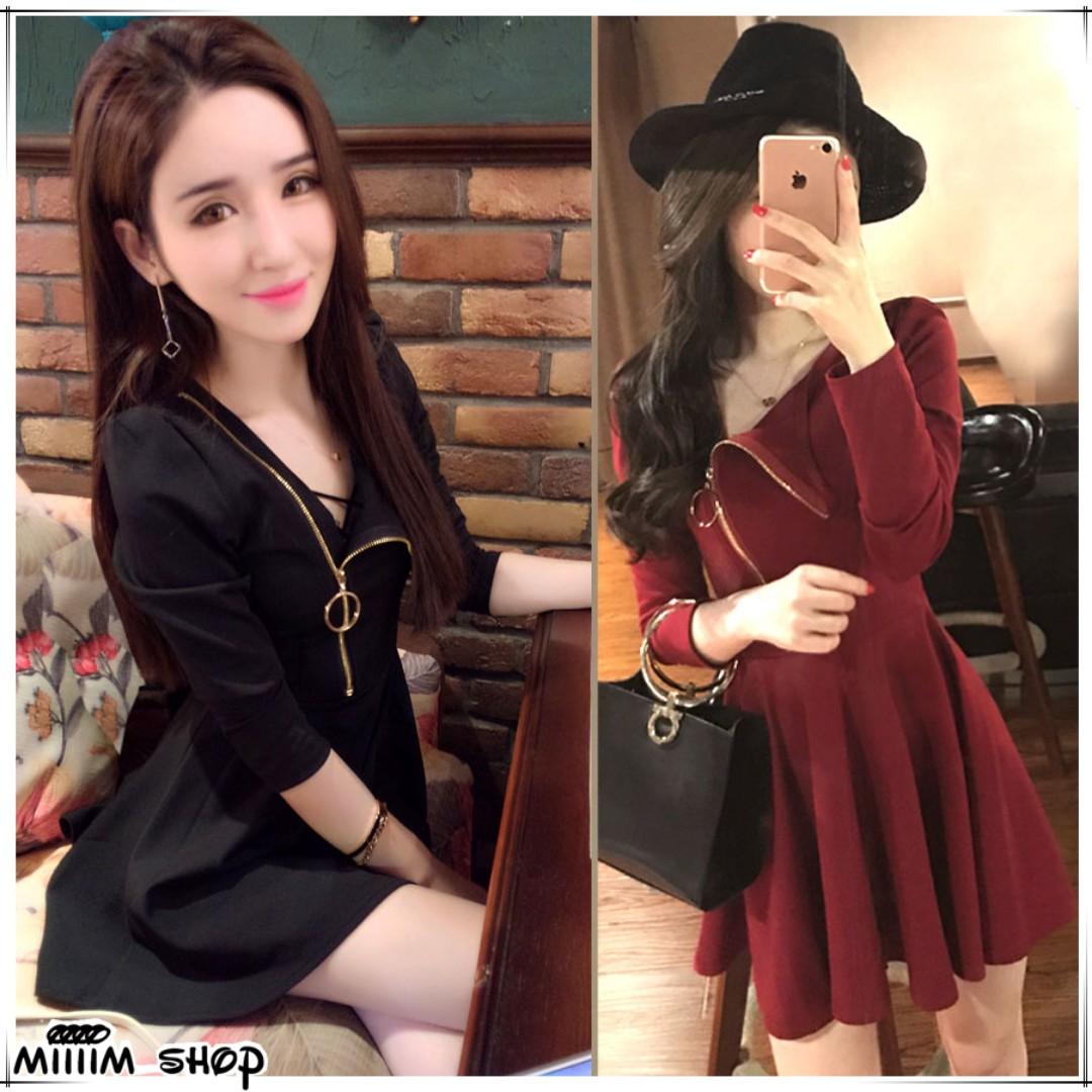 (S-L)韓版圓環氣質收腰傘狀連身裙 舞會PARTY約會小女人性感洋裝