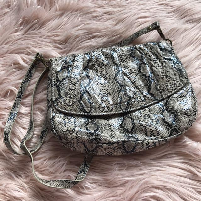 Snakeskin/ Python Print Shoulder Bag/ Clutch Bag