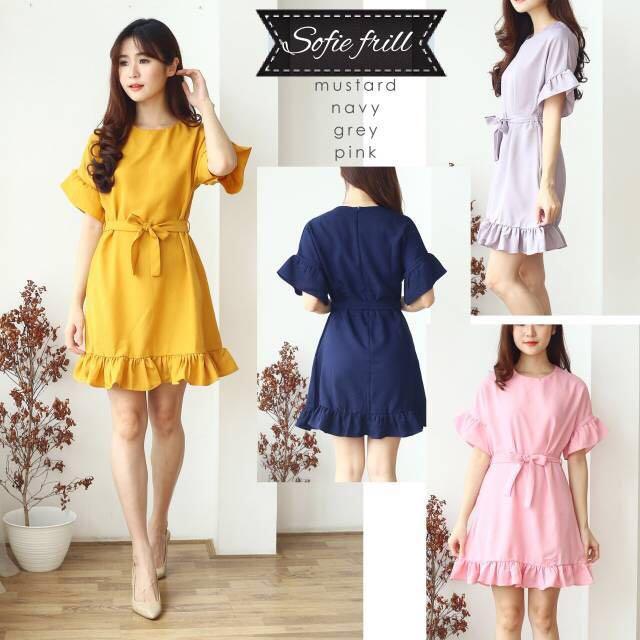 Sofie Frill Dress mustard ruffle