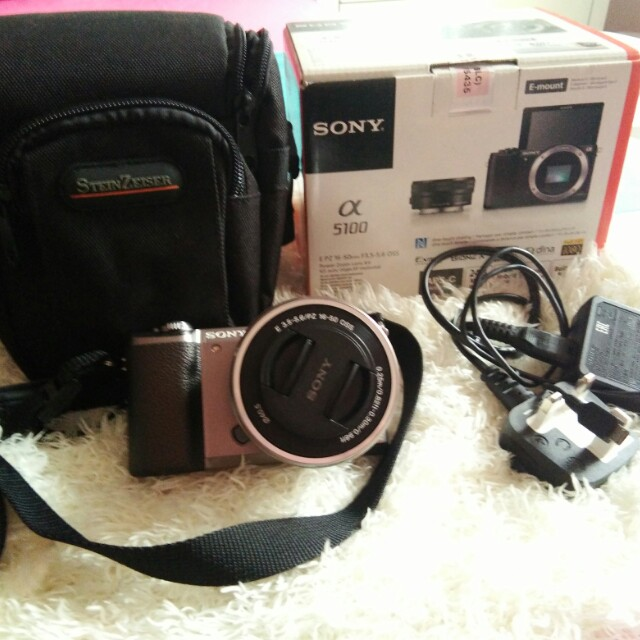Sony A5100, mirrorless camera, brown, full set.