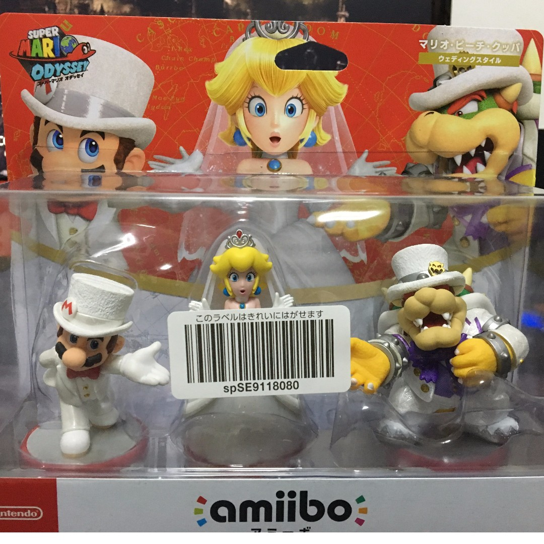 super mario odyssey amiibo mario peach bowser wedding 3 pack