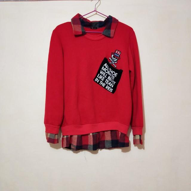 紅色假兩件格子襯衫大學T #好物任你換