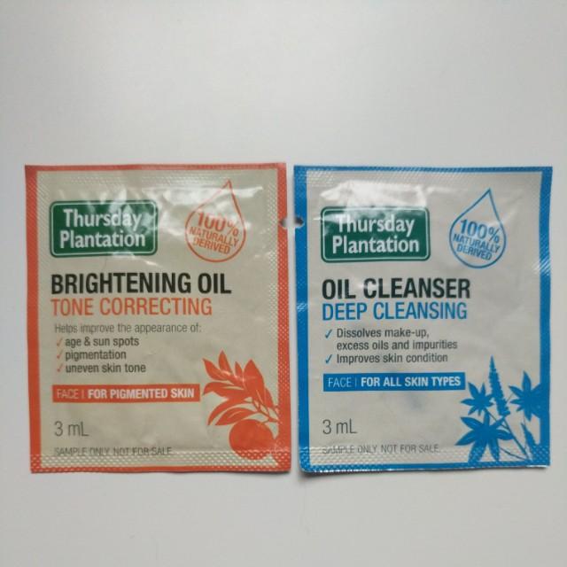 Thursday Plantation Brightening Oil & Oil Cleanser samples 3mL each