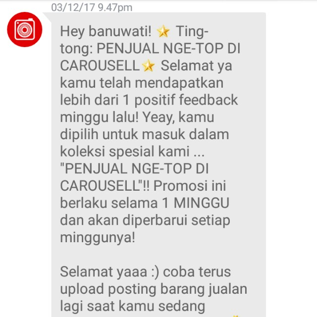 Ting tong, again, thank you Carousell