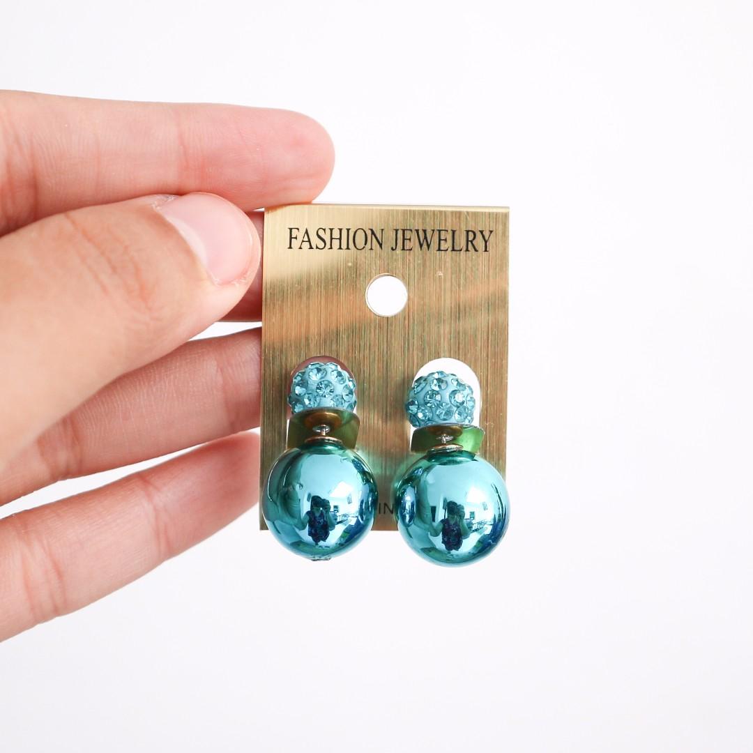 Turqoise Pearl Dior-Like Earings