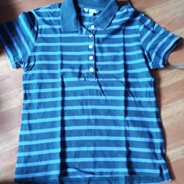 Uniqlo blue stripe polo