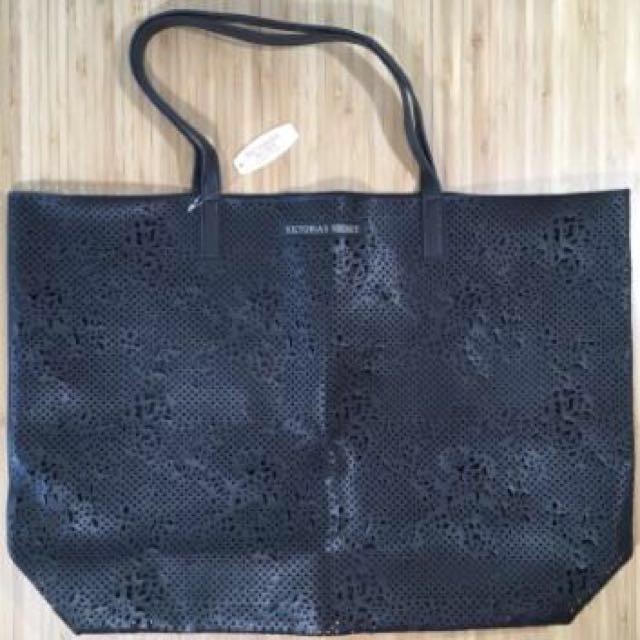 08f7821db Victoria's Secret Large Black Vinyl Tease Laser Cut Tote Bag ...