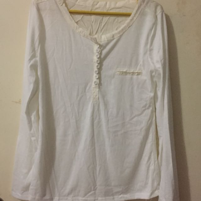 White bottoned blouse