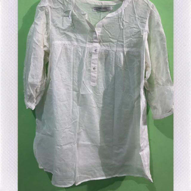 Whitw Transparan Blouse Zara