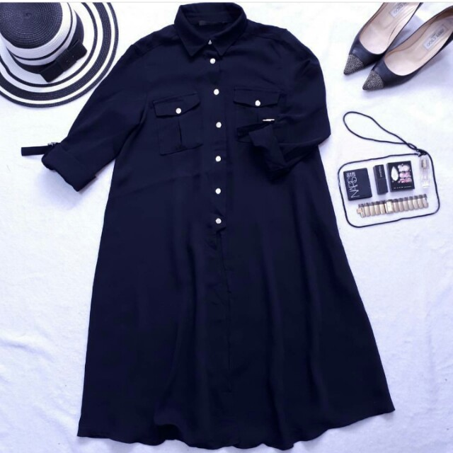 Zalora front slit shirt dress