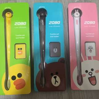 LINE friends (Brown, Cony and Sally) toothbrush with holder