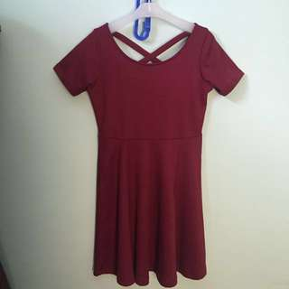 Dress flare maroon