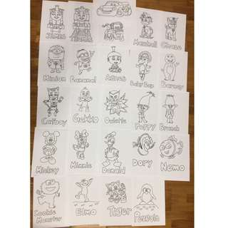 Hand drawn colouring pages
