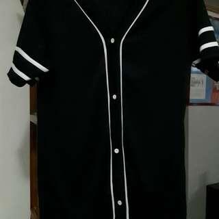 Black baseball shirt dress