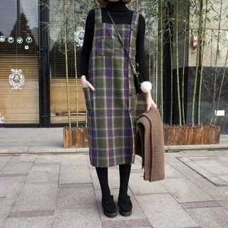 韓國毛呢墨綠格紋背心裙