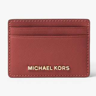全新保証正品 Michael Kors Jet Set Travel Saffiano Leather Card Case Holder Brick MK 真皮 卡片套 咭片套