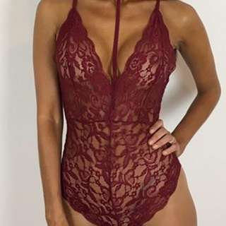 Choker Maroon Red Lace Bodysuit